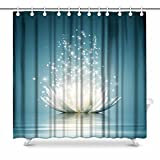 InterestPrint Spiritual Meditation Yoga Magic Lotus Flower Waterproof Polyester Fabric Shower Curtain Bathroom Sets with Hooks Home Decor, 72(Wide) x 72(Height) Inches