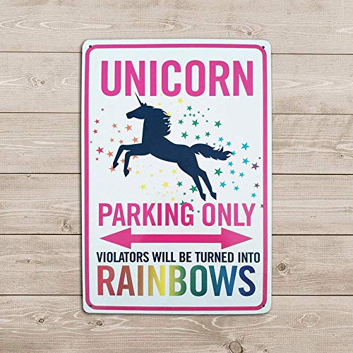 Art Studio Tin Sign Unicorn Rainbows Parking Only Sign Room Wall Decoration Funny Unicorn Birthday Gift Metal Sign 8x12 in from Art Studio