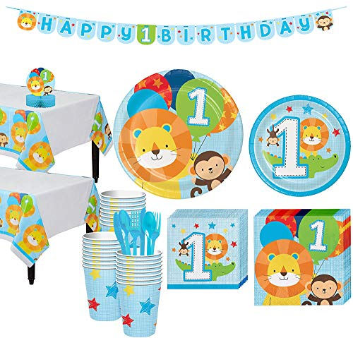 Party City Blue One is Fun 1st Birthday Party Kit for 32 Guests, Includes 2 Table Covers, Table Centerpiece and Banner