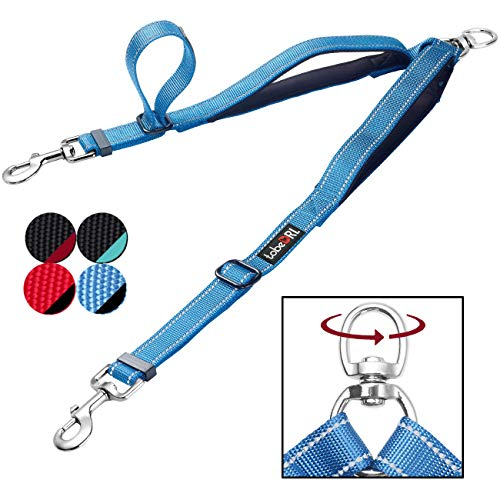 - tobeDRI Double Dog Leash Coupler - 2 Padded Handles, Adjustable from 18 to 24 Inch - Heavy Duty Dual Dog Leash for 2 Dogs for Large Medium Small Dogs (Blue)