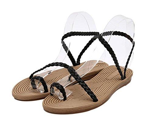Simples sandalias de las sandalias de punta abierta del clip Black