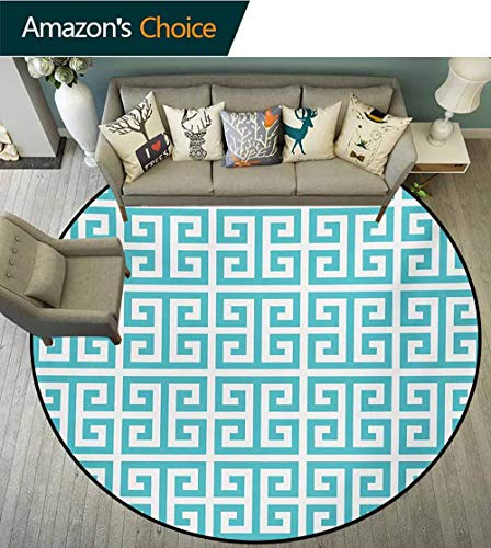 RUGSMAT Greek Key Machine Washable Round Bath Mat,Geometric Hellenic Fret Pattern in Pastel Blue and White Color Antique Revival Non-Slip No-Shedding Bedroom Soft Floor Mat,Round-63 Inch ()