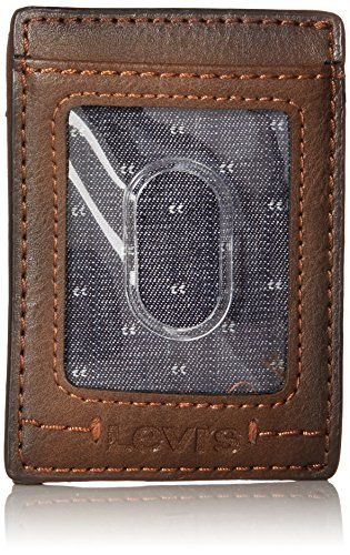 Levi's Men's Slim Front Pocket Wallet,Brown Double (Slim Stitch)