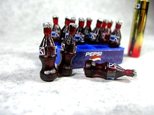 (12 Pepsi Bottles with Tray Doll house Miniature Food, Soft Drink,soda Collectibles)