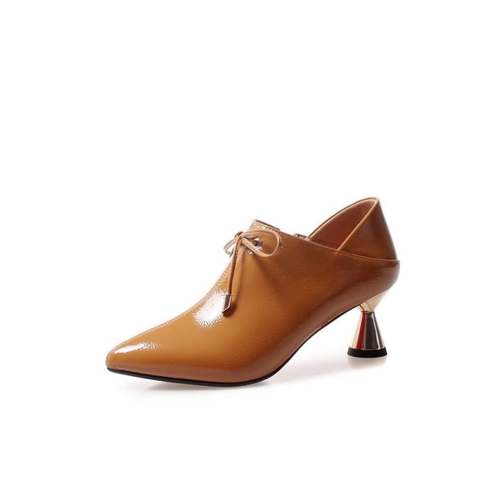SHOESHAOGE Zapatos De Mujer De La Novedad CharolBotas DePrimavera YOtoño Botas De Tacón Alto Botines con Punta En Punta/Botas De Tobillo Negro/Amarillo / Rojo/Fiesta Y Noche OHAOG