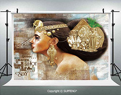Photography Background Woman Queen Cleopatra Profile Historical Art Scene with Ancient Pyramid Sphinx Decorative 3D Backdrops for Photography Backdrop Photo Background Studio Prop -