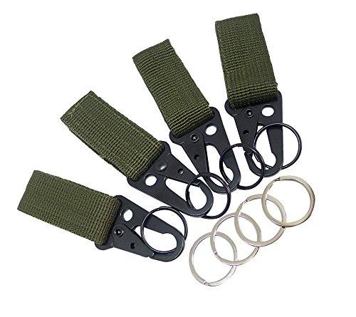 Faocean 4 pcs Tactical Key Ring Belt Holder Nylon Clips Keeper with 1