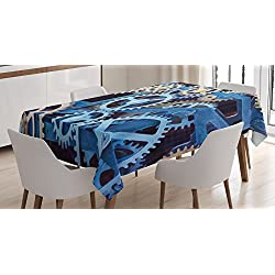 Ambesonne Clock Tablecloth, Technology Clock Gears Steel Cogwheels Pattern Mechanical Theme Design Print, Dining Room Kitchen Rectangular Table Cover, 60 W X 90 L Inches, Blue and Sand Brown