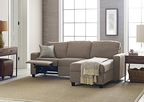Serta Palisades Reclining Sectional with Right Storage Chaise - Warm Oatmeal (For Spaces Small Sectional Small Sofa)