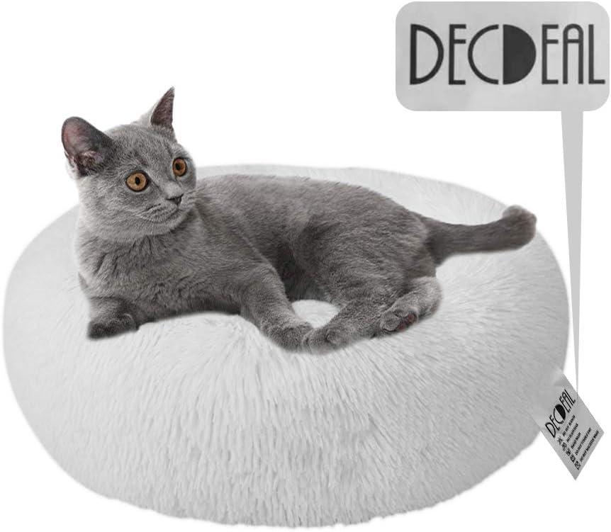 Decdeal Cama de Gato Donut Cama de Mascotas Perros Redonda Cómodo Suave Corto Nido de Donut con una Bola de Sisal para Animales Domésticos Cachorros para Dormir Descansar Invierno