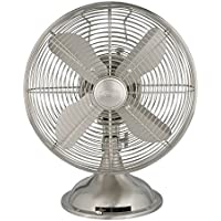 "Hunter 12"" Retro Table Fan in Brushed Nickel"