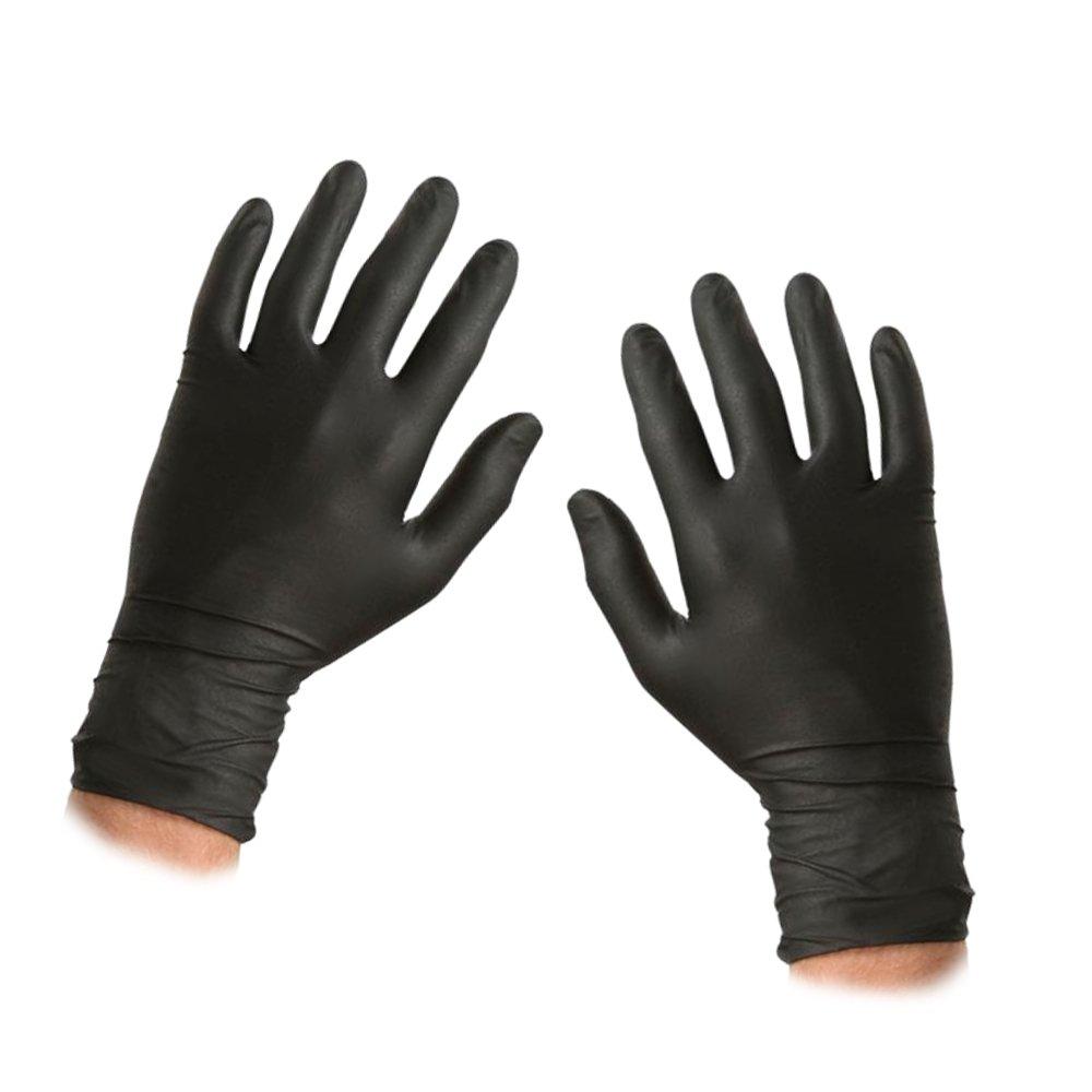 ASC BLACKニトリル使い捨て手袋 - サイズ大 - テクスチャード - パウダーとラテックスフリー - 100手袋(50ペア)  B079Z6W3CC