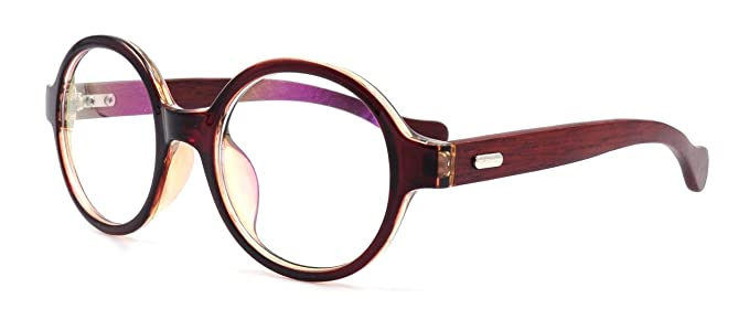 Amazon.com: Amillet Unisex Wooden Vintage Round Oval Eyeglass Frames ...