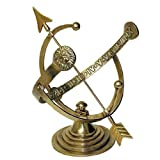 Rome 1330 Brass Armillary Sundial, Sold Brass with Verdigris Highlight, 21-Inch Height by 19-Inch Wide Time Band