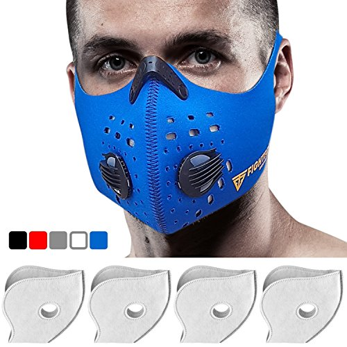 Dust Mask with Valves and Four N99 Filters. Original FIGHTECH Pollution Mask (BLUE)