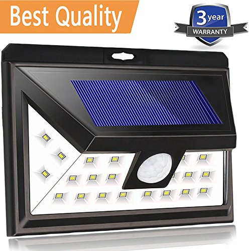 Solar Motion Sensor Lights Outdoor, Wireless Waterproof Solar LED Wall Light,Super Bright Wide Lighting Angle (270 Degree), Easy Installation for Driveway,Patio,Yard,Garden (24 LEDs, 1PACK) Art Deco Outdoor Lighting
