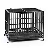 Ainfox 42' Heavy Duty Metal Dog Crate, Large Double Door Folding Strong Dog Pet Kennel Cage Tray, Fits Large Dog Breeds (42')
