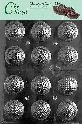 Cybrtrayd S051 Golf Balls 3D Chocolate Candy Mold with Exclusive Cybrtrayd Copyrighted Chocolate Molding Instructions 3 D Candy Molds