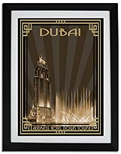 Address Hotel Down Town- Sepia With Gold Border F06-m (a4) - Framed