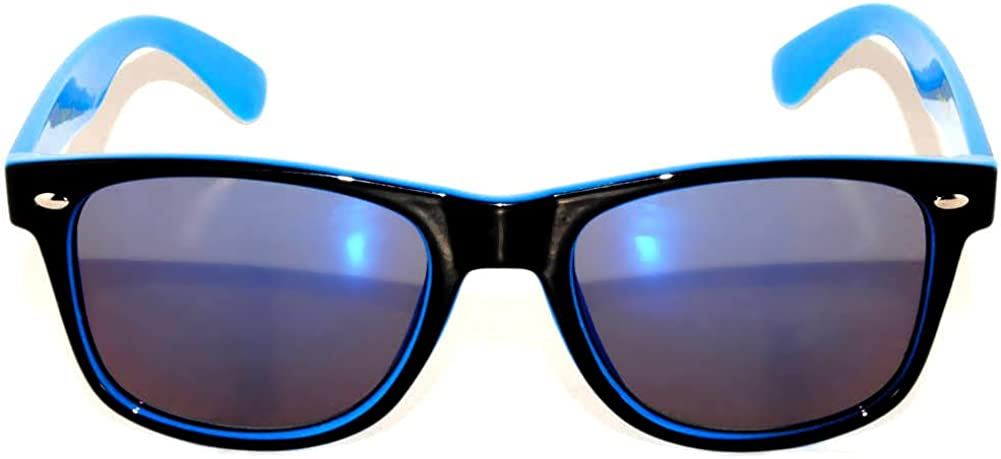 Fashion Retro Vintage Two -Tone Sunglasses Multicolor Mirror Lens