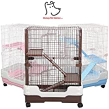Homey Pet 3 Tiers Chinchilla Hamster Rat Ferret Cage with Sleeping Platform, Pull out tray, Urine Guard and Lockable Casters, Pink, L26 x W17 x H38