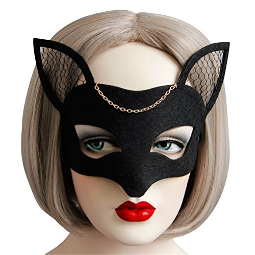 Fox Costume Mask for Women Cute, Halloween Masquerade Sexy Animal Masks Black (Black) -
