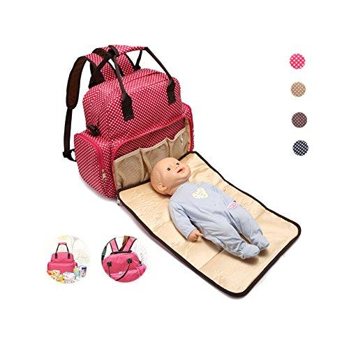 hansoul todos en una bolsa de pañales impermeables bebé pañal de gran capacidad mochila para cochecito con cambiador y correas para el carrito para mamá y papá marrón marrón rosa