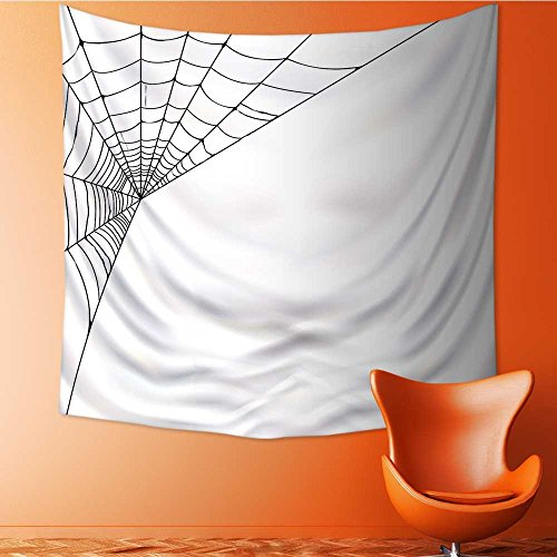 Analisahome Wall Tapestries Spider Web Icon Background Form Halloween Scary Evil Themed Black White Tapestry Table Cover Bedspread Beach Towel Lattern/51W x 51L -