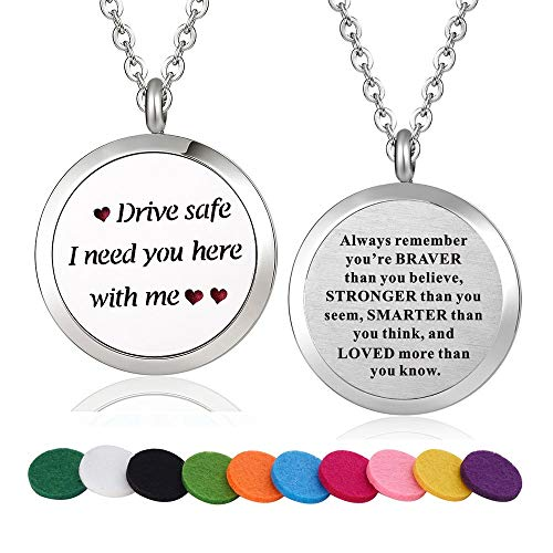 WPFdesign Drive Safe I Need You Here with Me Aroma Therapy Aromatherapy Essential Oil Diffuser Necklace Locket Pendant (Style -