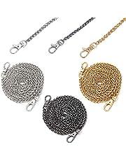 CoiTek Purse Chain Strap 3 PCS, Women Handbag Chains Silver Black Gold Shoulder Cross Body Bag Chain 47'' Metal Handbag Sliver Chain Replacement Straps Chain for Purse Making Supplies