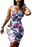 Deloreva Women Sexy Tropical Summer Dress Strapless Floral Midi Tube Bodycon Party Clubwear Blue L