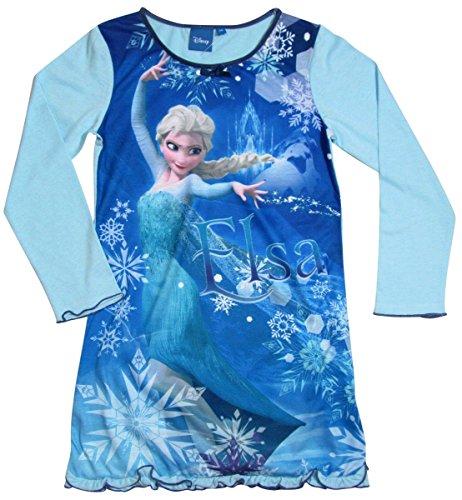 Frozen Kollektion 2016 Nachthemd Die Eiskönigin 98 104 110 116 122 128 Neu Nachtwäsche Nachtrobe Disney Elsa Blau (122 - 128, Blau)