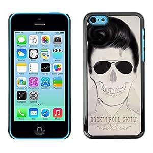 GOODTHINGS Funda Imagen Diseño Carcasa Tapa Trasera Negro Cover Skin Case para Apple Iphone 5C - Elvis cráneo rollo de la música rock fresco de la estrella