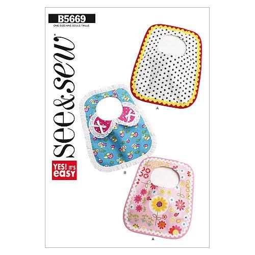 BUTTERICK PATTERNS B5669 Bibs, One Size (Baby Bib Sewing Pattern)