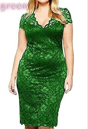 YELINGYUE Verano Midi Manga Corta Vestido Encaje La Mujer Vestidos De Oficina,Verde,S