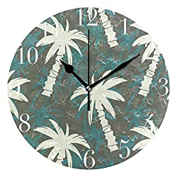 FunnyCustom Round Wall Clock Exotic Palm Tree Acrylic Creative Decorative for Living Room/Kitchen/Bedroom/Family