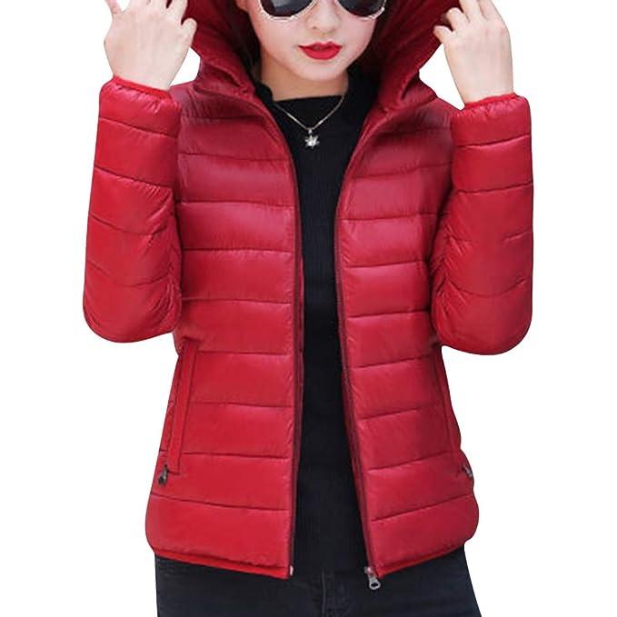 ZhuiKunA Chaqueta Abrigos Entallados Parka con Capucha Cuello de Piel para Mujer Vino Rojo S: Amazon.es: Ropa y accesorios