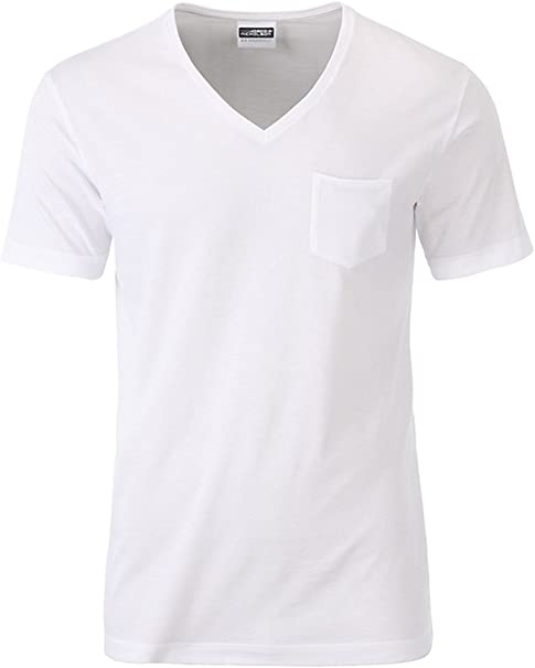 T-shirt uomo basic scollo a V 100/% cotone maglietta maniche corte Man JHK
