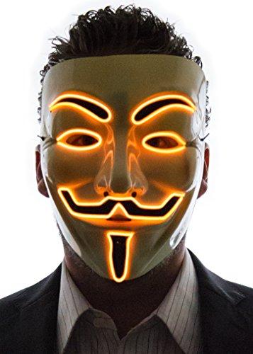Neon Nightlife Men's Light Up V for Vendetta, Guy Fawkes Mask, One Size, Orange