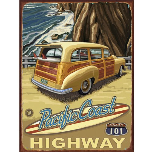 Pacific Coast highway 101 Metal Sign: Surfing and Tropical for sale  Delivered anywhere in USA