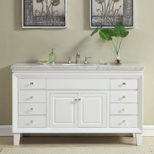 Silkroad Exclusive V0319WW60C Bathroom Vanity Carrara White Marble Top Single Sink Cabinet, 60