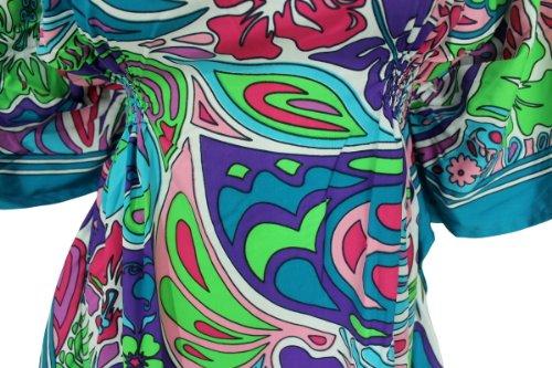 La Leela nado playa allover impresa múltiples encubrir tubo de las mujeres top de la blusa de túnica caftán Multi