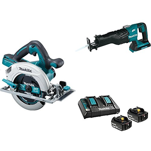 Makita XSH01Z 18V X2 LXT (36V) 7-1/4 inch Circular Saw, XRJ06Z 18V X2 LXT (36V) Brushless Recipro Saw, & BL1850B2DC2 18V LXT Battery & Charger Starter Pack (5.0Ah)