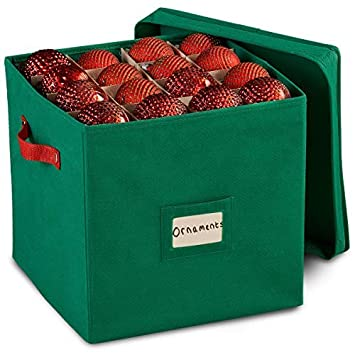 Durable Non-Woven Christmas Ornament Storage Box with Removable lid, Stores  up-to - Amazon.com: Durable Non-Woven Christmas Ornament Storage Box With