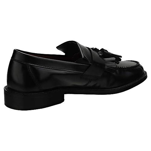 Size 9 London Brogues Buster Black Mens Slip On Tassel Loafer Shoes