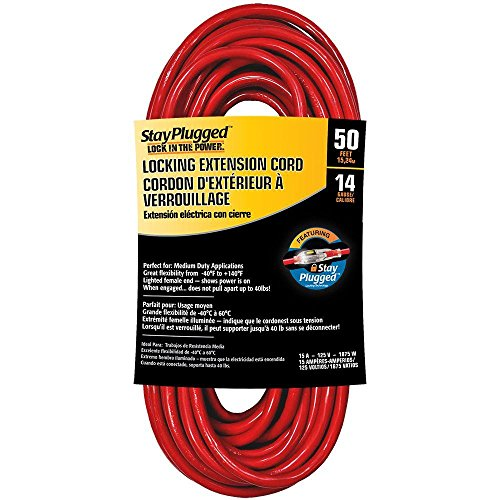 Serpentec 630-143050L30 Stay Plugged Lighted Locking Plug Indoor/Outdoor Extension Cord, 14/3 Gauge 50 ft, Red -