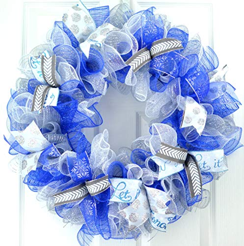 Winter Wreath | Christmas Winter Mesh Door Wreath Royal Blue White Silver