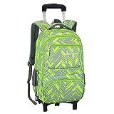 Adanina Nylon Waterproof Elementary Rolling Backpack Primary Senior school Trolley Book Bag Removable Wheeled School Bag