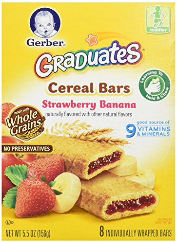 Gerber Graduates for Toddlers Cereal Bars, Strawberry Banana, 8 ea
