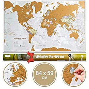 Scratch the World® Travel Map – Scratch Off World Map Poster with Gift Tube – X-Large – 84 x 59 cm – Maps International – 50 years + of Map Making